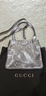 Authentic Vintage GUCCI Pewter Silver Imprime Monogram GG Messenger CrossbodyBag