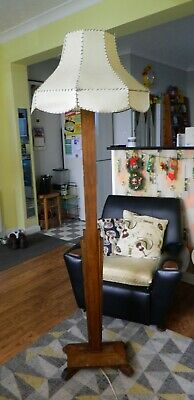 Beautiful Working Vintage Art Deco Standard Floor Lamp & Parchment Lampshade