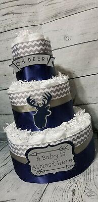3 Tier Diaper Cake - Oh Deer Diaper Cake for Boy Diaper Cake for Baby Shower