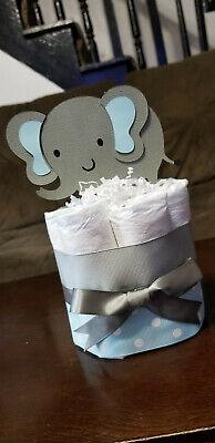 Mini Diaper Cake - Blue Elephant Theme Diaper Cake for Baby Boy Shower