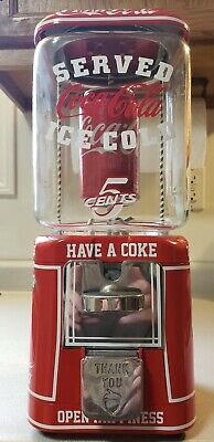 COCA COLA COIN OPERATED OAK ACORN GUMBALL CANDY MACHINE / SIGN