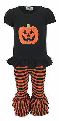 Girls 2 Piece Boutique Halloween Pumpkin Outfit Triple Ruffle Leggings and Top