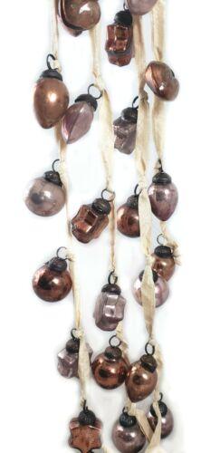 "Mercury Glass Embossed Garland 72"" Long Plum & Bronze Colors Christmas Stars"