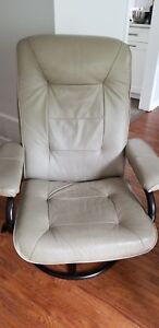 2 Taupe/Beige Leather Reclining  Chairs w/ foot stool