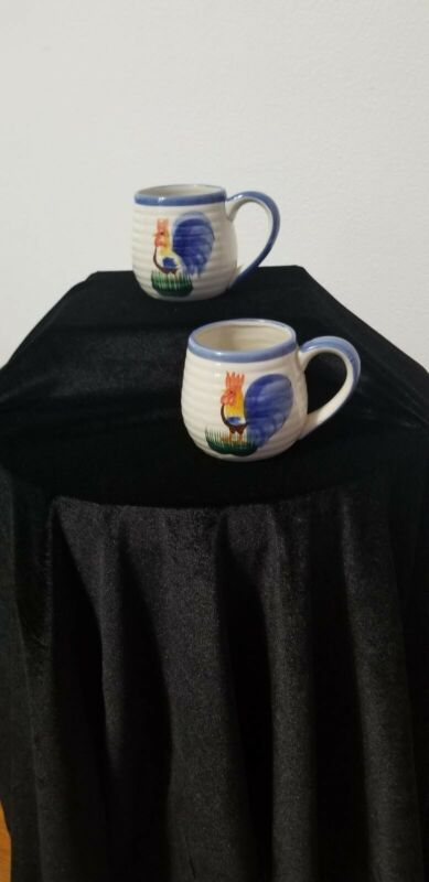 ALCO INDUSTRIES Stoneware Mug Rooster w/ Blue Trim Present Gift Set of 2