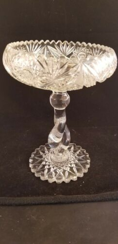 vintage clear cut lead crystal pedestal compote bowl