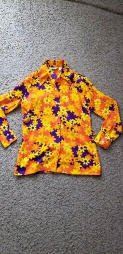 Vintage 60s 70s MOD gogo MISS HOLLY  Polyester hipster boho Top popart