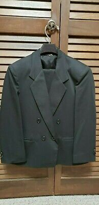 VINTAGE 80's BOYS BLACK 2 PC DBL BREASTED TUXEDO STYLE SUIT; SIZE 6-7-USA MADE ](80s Boys Fashion)
