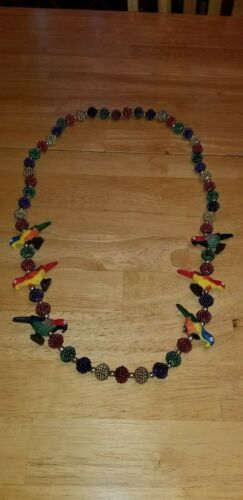 Vintage Mardi Gras Necklace Beads With Parrots