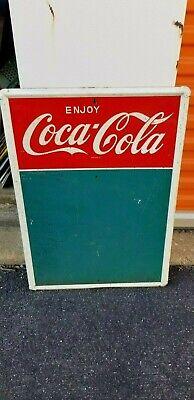 VINTAGE Tin Enjoy Coca Cola Chalk Board Sign 20 x 28