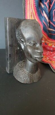 Old African Carved Ebony Bust  …beautiful collection & display piece
