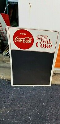 VINTAGE Tin Enjoy Coca Cola Chalk Board Sign things go better with coke 20 x 28