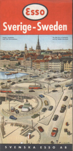 1957 Esso Road Map: Sweden Sverige NOS
