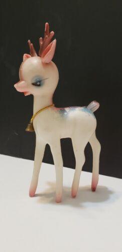 Vtg Vinyl Plastic Pink Reindeer Christmas Bell Sleepy Eye Commodore 8 inches