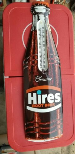 VINTAGE Hires ROOTBEER Bottle Thermometer Sign