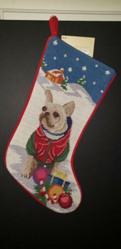 White FRENCH BULLDOG Frenchie Handmade Needlepoint Christmas Dog  Stocking NWT