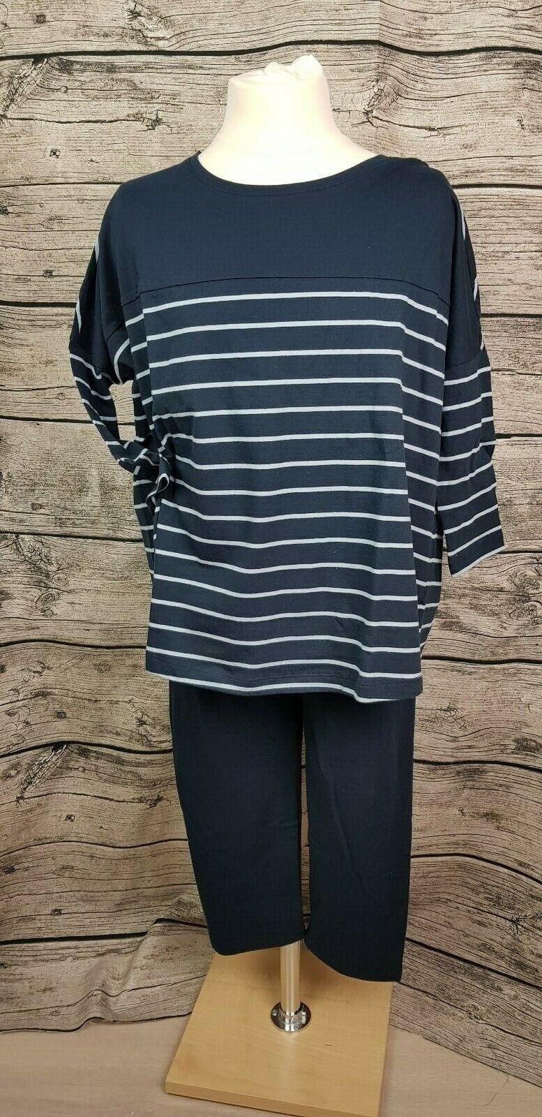 Schiesser Mädchen Schlafanzug Dreiviertel Leggings Pyjama Navy Gr.140 - 164 NEU
