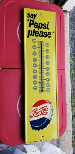 VINTAGE Pepsi Cola say Pepsi please bottle cap Thermometer Sign