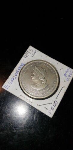 El Salvador un colon 1893 EL SALVADOR SILVER coin currency dinero money collecti