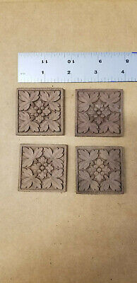 Lot (4) VTG Dark Wood Furniture Trim Pieces Rosettes Square 1.75