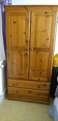 Used Solid Pine 2-Door 2-Drawer Wardrobe