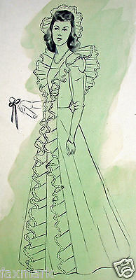 """Vintage """"Woman in Gown"""" Drawing by Suzanne Eshleman --1930's-40's..."""