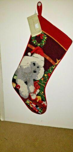 WHITE POODLE  Handmade Needlepoint Christmas Stocking NWT