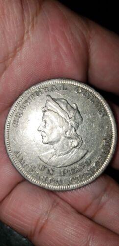 El Salvador Republic Silver 1894 1 Peso Colon Nice money currency billete