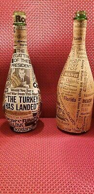 Wine Bottle Handcrafted Pop/Folk Art Collage 70's Vintage