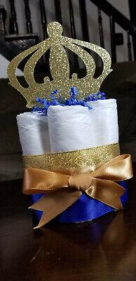 Mini Diaper Cake - Royal Blue Prince Theme Diaper Cake for Baby Boy - Royal Prince Baby Shower Cake
