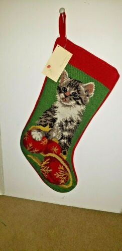 CHRISTMAS CAT Ornaments on Green Handmade Needlepoint Christmas Stocking NWT