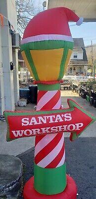 Gemmy 7ft Santa's Workshop Lamp Post Inflatable