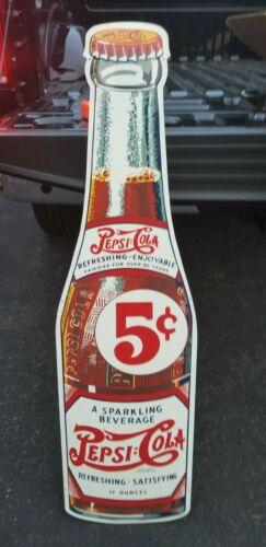 LARGE Vintage Pepsi Cola Refreshing Enjoyable 5 Cents Bottle Sign Stout