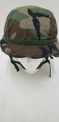 Military Issued Woodland Made with Kevlar Helmet Complete-Extra Small