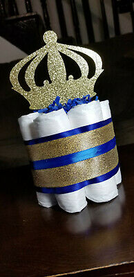 Royal Prince Baby Shower Themes (Mini Diaper Cake - Royal Blue Prince Theme Diaper Cake for Baby Boy Shower)