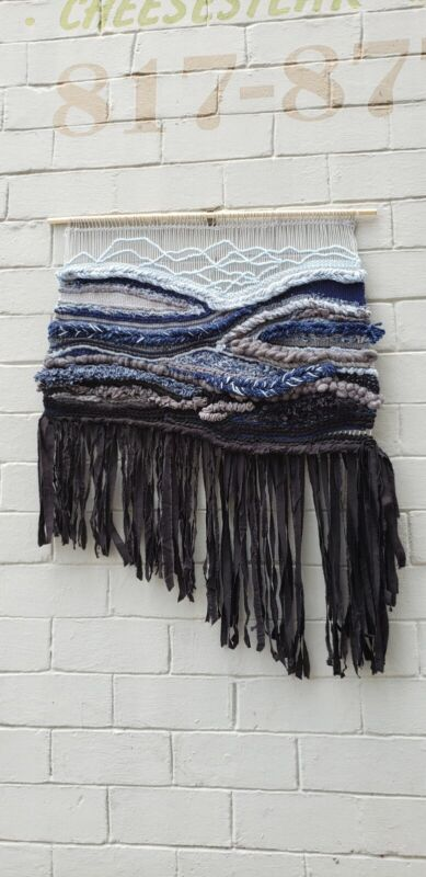 """Hand Woven Hanging Wall Weave ORIGINAL """"Gray Day"""" Blue Black 48"""" x 36"""""""