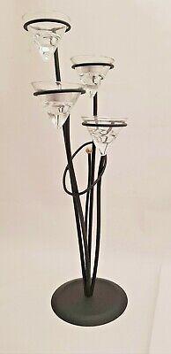 Freistehende Arbeitstisch (Tischleuchter - Metall Schwarz für vier Teelichter  - Handarbeit- Hejo Design)