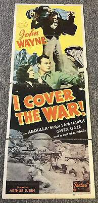 Used, John Wayne ~ I COVER THE WAR insert movie poster ~ 1940's Realart for sale  Wilmington