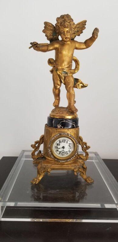 "Antique Victorian Cupid Cherub  Gold Gilt Metal Statue w/ Clock c. 1890 H 14"""
