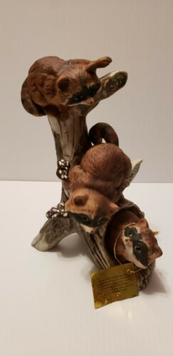 Racoon Figurine by Homco 3 Racoons on a Tree Branch