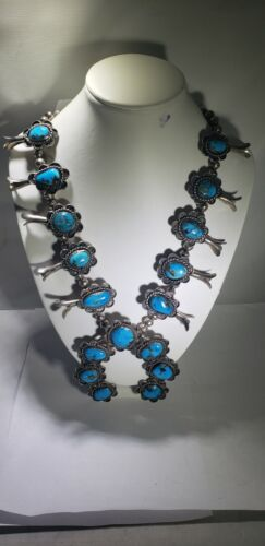 Antique Turquoise & Silver Horseshoe Squash Blossom Necklace New Mexico 1960's