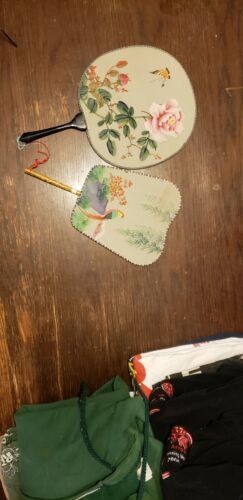 Two Chinese Rice Paper hand painted hand fans - NICE!!