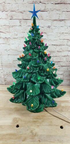 "Vintage 80s Ceramic Mold Green Christmas Tree  22-1/2"" Tall Decoration Atlantic?"