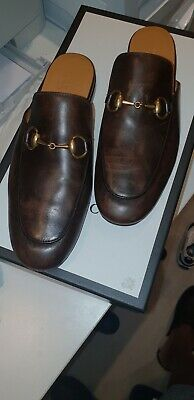 Gucci Mens Shoes Brown Princetown Horsebit Loafers Slipper UK Size 5