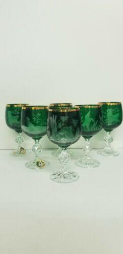 SET OF SIX UNIQUE EMERALD GREEN WINE GLASSES