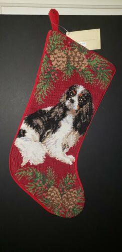 Tri Color Cavalier King Charles Pinecone Handmade Needlepoint Christmas Stocking