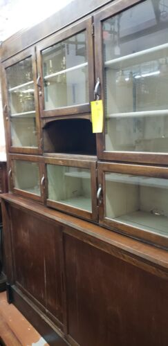 Restored 7 Foot Art Deco Waterfall Glass Front General Store Cabinet