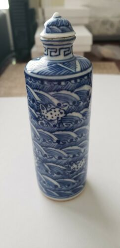 Antique Chinese Porcelain Stoneware Blue & White Cylinder Snuff Bottle Signed