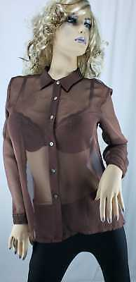 H&M Women's brown long-sleeve size Large 12-14 Women's button-down size Large 12