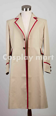 Who is doctor fifth 5th Dr Red Stripe Beige Coat Cosplay Costume Halloween